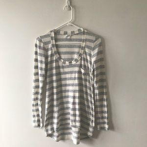 Splendid Grey Ivory Striped Long Sleeve Shirt Top